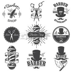 peluqueros: Conjunto de emblemas de época barbería, etiquetas, escudos y elementos diseñados. Estilo lineal monocromático