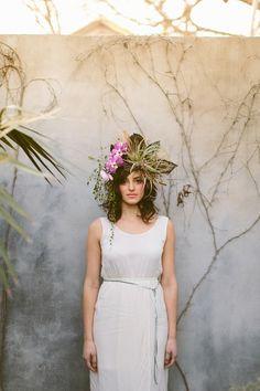 DIY Flower Headdress Read more - http://www.stylemepretty.com/texas-weddings/2014/01/08/diy-flower-headdress/