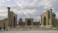 https://flic.kr/p/qu7GPb | 20141001_Uzbekistan_0727 crop Samarkand | The Registan (main square) is the site of three restored madrasas (Islamic schools).  On the left is the Ulugh Beg Madrasa, the oldest of the three which was completed in 1420 and became one of the best clergy universities of the Muslim Orient in the 15th Century.  It was also an important center for astronomical study.  A grandson of Tamerlane (Timur the Lame; 1336-1405), Ulugh Beg (1394-1449) became sovereign ruler of ...