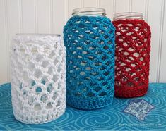 ideas about Mason Jar Cozy Crochet Jar Covers