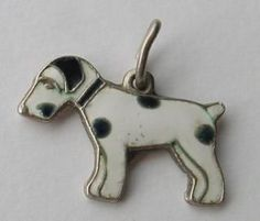 """Up for sale is a beautiful set of Sterling charms. I believe the dog is a Scottish Terrier but not sure. Both pieces are marked """"sterling"""". Dog Jewelry, Charm Jewelry, Vintage Charm Bracelet, Charm Bracelets, Smooth Fox Terriers, Vintage Dog, Vintage Silver, Dalmatian Dogs, Wire Fox Terrier"""