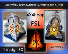 Mini Halloween decorations lantern lace ghost 3d - FSL - 4x4hoop - Machine…