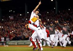 Catcher Davis Ross hoisted Koji Uehara after securing the final out of the World Series as their teammates rushed from the dugout.They have won 8 World Series,