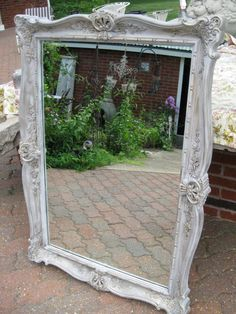 Vintage Retro Mirror (with plastic frame) transformed with van Gogh Chalk Paint in Chivalry with a touch of Muse.  Finished with van Gogh French Caffeine Beeswax!  Gorgeous and absolutely no problem with the paint sticking to the plastic frame.  Time:  1.5 hours.  Price:  $129.00