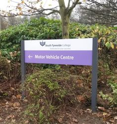 South Tyneside College | #pictosign #external signage #education #wayfinding Wayfinding Signs, Signage, Motor Car, Helping People, College, Education, Outdoor Decor, University, Car