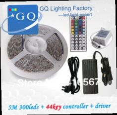 55.00$  Buy here - http://ali3vo.worldwells.pw/go.php?t=1130506263 - Flexible RGB LED Light Strip 12V 5050 SMD 300leds/5M  60leds/m WATERPROOF + 44Key IR REMOTE Controller+60w driver
