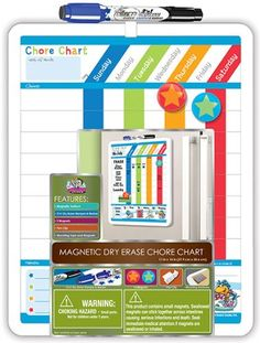 Amazon.com: Board Dudes Magnetic Dry Erase Rewards Chore Chart with Marker and Magnets (11020WA-4): Office Products