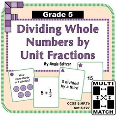 Multi-Match Game Cards Dividing Whole Numbers by Unit Fractions. This set of printable cards helps students understand division of whole numbers by unit fractions, called for by CCSS The in the title stands for Grade 5 fractions domain. Circle Diagram, Easel Activities, 5th Grade Math, Game Guide, Matching Games, Printable Cards, Math Games, Small Groups