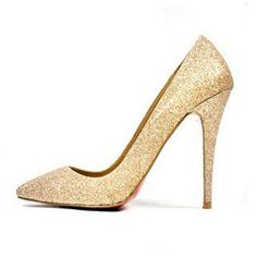 [US$33.79] - Luxury Gold Sequins Red Bottom Pointed Toe Glitter High Heels : ThatsPoint.com