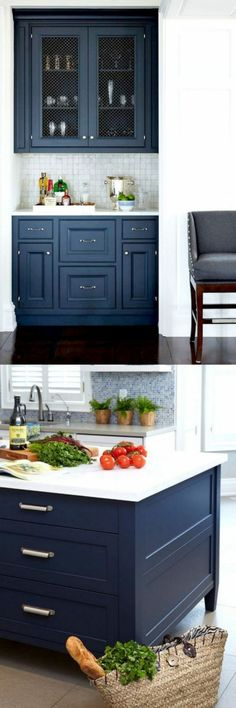 Uplifting Kitchen Remodeling Choosing Your New Kitchen Cabinets Ideas. Delightful Kitchen Remodeling Choosing Your New Kitchen Cabinets Ideas. Blue Kitchen Cabinets, Painting Kitchen Cabinets, Kitchen Redo, New Kitchen, Kitchen Design, Kitchen White, Kitchen Ideas, Bathroom Cabinets, Kitchen Island