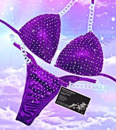 Physique Competition, Bikini Competition Suits, Eggplant Purple, Lucky Girl, Coordinating Colors, Clear Crystal, Amethyst, Crystals, My Style