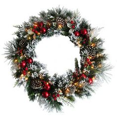 Holiday Living�Pre-Lit 30-in Red Berry Douglas Fir Artificial Christmas Wreath with 50-Count Incandescent Lights