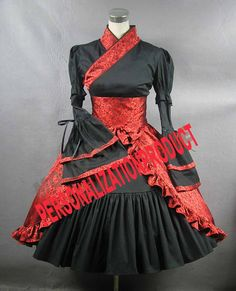 Lolita cotton black and red dress