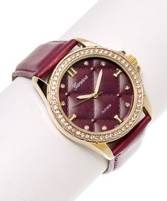 This Maroon Rhinestone Quilted-Face Watch by Geneva Platinum is perfect! #zulilyfinds