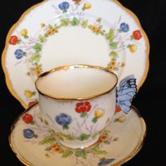 Royal Albert Springtime Butterfly Handle Tea Cup and Saucer and Dessert Plate
