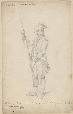 Sketches of British soldiers made by Philippe Jacques de Loutherbourg at Warley Commons in 1778 Worcester Militia