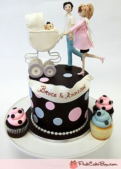 Pregnant Mommy & Husband Cupcake Topper from Pink Cake Box