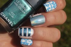 Coweless: Blue Damask and stripes 1