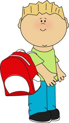 Boy wearing a backpack from MyCuteGraphics