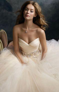 Lazaro Ball Gown Wedding Dress - Floral Belt