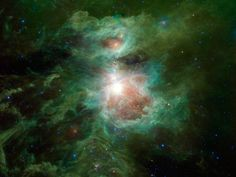 The Cosmic Hearth  The Orion nebula is featured in this sweeping image from NASA's Wide-field Infrared Survey Explorer, or WISE. The constellation of Orion is prominent in the evening sky throughout the world from about December through April of each year. The nebula (also catalogued as Messier 42) is located in the sword of Orion, hanging from his famous belt of three stars.
