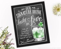 St Patricks Day Irish Wedding Decoration | Signature Drink Sign | As-Is or Personalized Wedding Keepsake Gift | Lucky in Love Drink