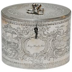"1777 ca.    Tea Caddy, English.  Sterling silver tea caddy.  By William Vincent,  Engraved ""Mary Hooker Dole"".                      1stdibbs.com                                 suzilove.com"