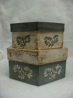 Set of two paper mache hexagon boxes. French blue and white. Flower design on top and sides. Large box is 8 inches wide across the top of the Decoupage Wood, Decoupage Vintage, Primitive Crafts, Country Primitive, Painted Boxes, Wooden Boxes, Hexagon Box, Paper Mache Boxes, Old Boxes