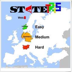 """""""Statetris"""" es un tetris en el que hay que bajar y encajar la silueta de los países europeos justo en su lugar. Con tres niveles de dificultad."""
