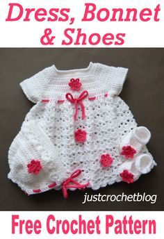 Free crochet pattern for dress, bonnet and shoes. Available on Free crochet pattern for dress, bonnet and shoes. Crochet Baby Dress Free Pattern, Crochet Baby Bonnet, Newborn Crochet Patterns, Crochet Baby Cardigan, Knit Baby Dress, Baby Dress Patterns, Baby Clothes Patterns, Crochet Bebe, Baby Girl Crochet