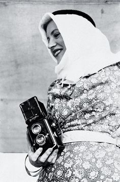 """Photographer Lee Miller with Rolleiflex, Egypt, 1935 