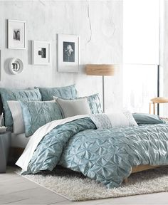 Bar III Diamond Pleat Mineral Blue Duvet Covers, Only at Macy's - Duvet Covers - Bed & Bath - Macy's