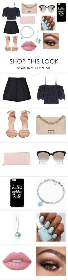 """Shopping Outfit"" by anastasiazimonopoulos on Polyvore featuring RED Valentino, Ganni, Stuart Weitzman, Chanel, Michael Kors, Christian Dior, Tiffany & Co. and Lime Crime"