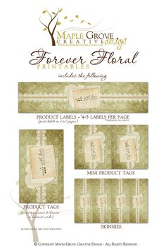 Forever Floral Printable Tags for Crochet Knit by MapleGroveCreative on Etsy