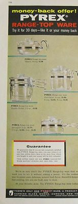 1958 Ad Pyrex Glass Range Topware Teapot Percolator Double Boiler Sauce Pan