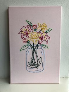 Simple Canvas Paintings, Small Canvas Art, Mini Canvas Art, Diy Canvas, Hand Embroidery Art, Sewing Art, Art Drawings, Art Projects, Creations
