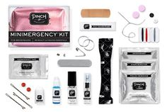 Minimergency Kit for Bridesmaids by Pinch Provisions includes 20 must-haves: hairspray, clear nail polish, nail polish remover, emery board, earring backs, clear elastics, sewing kit, Shemergency tape, stain remover, deodorant towelette, pain reliever, tampon, breath freshener, dental floss, adhesive bandages, facial tissue, blotting tissues, bobby pins, antacid, and extra wedding bands.