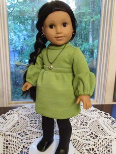 """Green Doll Dress to fit your 18"""" American Girl Doll in 1970's Dress Style with Vintage Fabric and Medallion Doll Necklace by Emmakate0 on Etsy"""