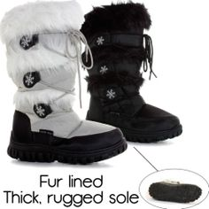 WOMENS LADIES FUR LINED SNOW WINTER KNEE HIGH MID CALF WARM BOOTS LOW FLAT SIZE