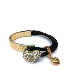Gold Heart Charm Braided Bracelet