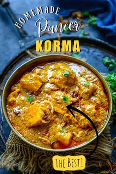 Paneer Korma is a Mughlai style Paneer dish where paneer cubes are cooked in a rich onion based gravy. This Indian curry is rich and creamy and goes well with breads. Here is how to make Paneer Shahi Korma recipe. Paneer Korma Recipe, Paneer Curry Recipes, Indian Veg Recipes, Asian Recipes, Vegetarian Recipes, Cooking Recipes, Ethnic Recipes, Paneer Dishes, Food Recipes
