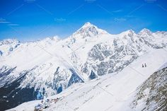 Landscape winter with ski slopes. Snowboarding and skiing, enjoying the alpine mountain scenery. Lifestyle snowboarding, adventure, sports and travel. Alpine Mountain, Winter Mountain, Mountain Landscape, Winter Landscape, Snowboarding, Skiing, Ski Slopes, Mount Everest, Scenery