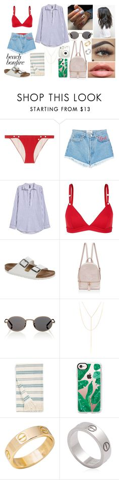 """""""Summer Nights: Beach Bonfire"""" by emily5302 ❤ liked on Polyvore featuring LoveStories, Forte Couture, Birkenstock, Oliver Peoples, South Moon Under, Señor Lopez, Casetify, Cartier, Fujifilm and beachbonfire"""