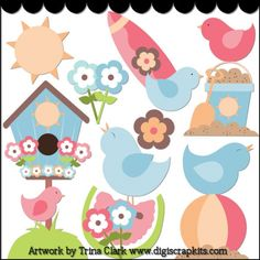 Summer Birds 1 - Non-Exclusive Clip Art