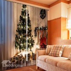 3D Christmas Tree Print Energy Saving Curtain - beddinginn.com