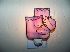 Booties Stained Glass Lamps, Stained Glass Projects, Stained Glass Patterns, Fused Glass, Stained Glass Night Lights, Glass Lights, Night Lite, Nightlights, Baby Ideas