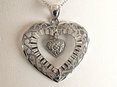 Vintage Sterling Silver Bright Cut Filigree Heart by COBAYLEY