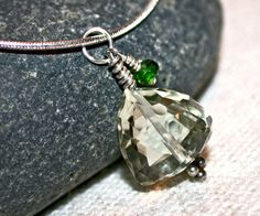 Lovely Green Amethyst Trillion Necklace by LindaGeez by LindaGeez