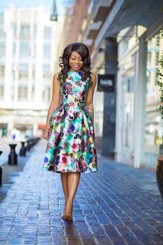silky and shiny satin floral dress