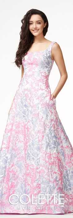 Sophisticated Jacquard A-line Formal Dress - Colette for Mon Cheri - CL18316